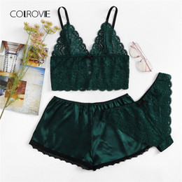 02aab35d50 COLROVIE Army Green Sexy Floral Lace Cami Lingerie Set 2018 New Burgundy Women  Bra   Brief Sets Wireless Sexy Underwear Bra Set