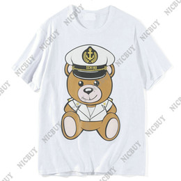 Poco oso ropa online-diseñador de moda de lujo marca 2018 camiseta de ropa de verano para hombres Little Bear estampado de animal camiseta de impresión tee top mujeres camisetas de algodón