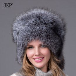 Wholesale Real Fox Tails - Silver Fox Fur Ushanka Hat 100%Real Fur . Silver fox With a tail, ear cap woman winter hat great circle