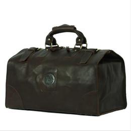 Wholesale Retro Luggage - 17 Inch Large Capacity Retro Men's Genuine Leather Duffel Bag Outdoor Travel Business Luggage Handbag Tote Bag