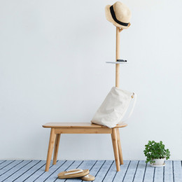 Wholesale hall trees - Shoe Stool with Coat Rack Creative Simple Hall Tree Foot Stool Coat Stand Bedroom Furniture Child House Furniture