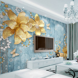 pintar flores doradas Rebajas Custom 3D Photo Wallpaper Golden Jewelry Flowers Blue Textured Mediterranean Luxury European Style TV Background Pintura mural