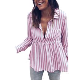 blusas de rayas de talla grande Rebajas Camisa de blusa de manga larga a rayas mujeres Blusas sueltas de mujer Femme Otoño Otoño Blusas de oficina de mujer Casual Top Sexy Plus Size