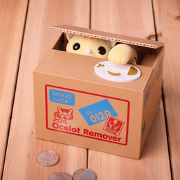 Wholesale Stealing Coin Cat - Stealing Cat Coin Bank Money Saving Box Piggy Bank Funny Cute Hungry Robotic Cat Piggy Bank Creative Gift For Kids