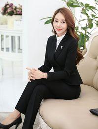 Wholesale Work Uniform Pants - New Professional Female Pantsuits With Jackets And Pants for Office Ladies Work Wear Blazers Uniforms Trousers Set Pants Suits