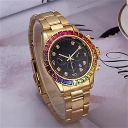 2019 радужные часы Роскошные мужские / женские кварцевые часы Радуга, прыгающая через обручи Часы с часами, новые дизайнеры Мужчины Циферблат диаметром 40 мм дешево радужные часы