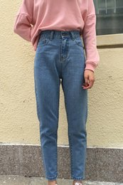 Wholesale Denim Jeans For Women - Autumn Spring Jeans for women Casual High waist simple Classic Student pant Blue and Black colors