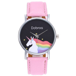 Wholesale Girl Hour - Unisex Boys Girls Simple Style Retro Design Business Clock Unicorn Simple Fashion Leather Quartz Wrist Lovers Clocks Hours Watch