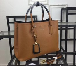 Wholesale inside bag - AAA 1BG775 33cm Two-Tone Double Handles Saffiano Leather Totes Bags,,Gold Hardware,1 inside Flap Pocket,Nappa Lining Dust Bag Free Shipping