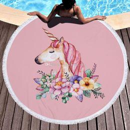Wholesale Swimming Beach Towel - Unicorns Beach Towel 150*150cm Round Beach Towels 2018 Summer new Swimming Bath Towels cartoon Shawl Yoga Mat 16 colors Blanket C3828