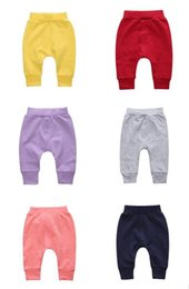 Wholesale Yellow Boys Trousers - Newborns baby cute solid color pants infants boys girls pure color cotton pants trousers for 0-2T B11