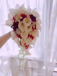 Bouquets de mariage personnalisés en Ligne-Fournitures de mariage sur mesure haut de gamme, bouquet de mariée de mariage, calla blanc avec rose rouge, bouquet de pivoines rouges, décoration de bijoux