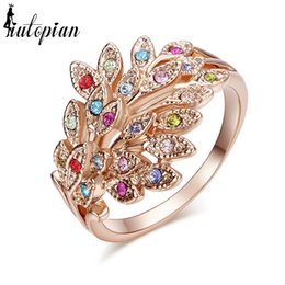 Wholesale Stellux Austrian Crystals - whole saleIutopian Brand Elegant Geunie Austrian Peacock Ring Rings For women With Austrian Crystal Stellux C#RG96496