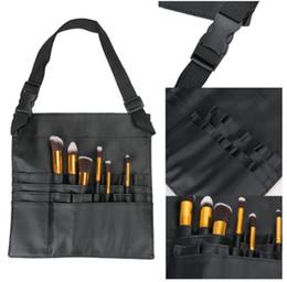 Wholesale Makeup Brushes Belt - New Black Two Arrays Makeup Brush Holder Stand 24 Pockets Strap Belt Waist Bag Salon Makeup Artist Cosmetic Brush Organizer