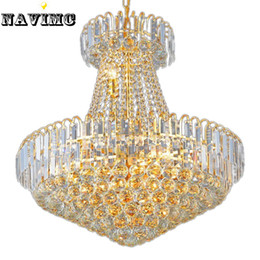 Wholesale E14 Red - Royal Empire Silver Crystal chandelier Light French Golden Crystal Hanging Light Diameter 60cm