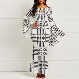 Clocolor African Women Clothing Plus Size Bodycon Autumn Winter Long Sleeve  Ladies Vintage Sexy Hollow Long Maxi Striped Dress eca9040ea