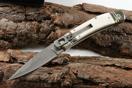 Wholesale natural camps - Italy mafia 7.7 inch 7.7inch thug D2 blade natural bone handle single action pocket knife automatic knives gift knife for man