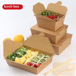 Lancheira de papel Kraft Dinner Tableware Caixa descartável À Prova D 'Água À Prova De Óleo de Frutas Salada De Arroz De Alimentos etc. Quatro tamanhos EMPTY BOX de