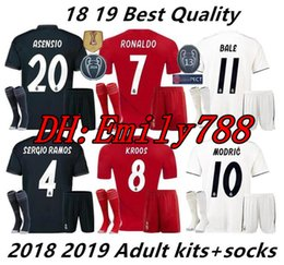 25fd7ff095680 18 19 kits de Real Madrid kits de camisetas de fútbol para adultos +  calcetines conjuntos de uniformes kits para adultos 2018 2019 JAMES BALE  ISCO a ...