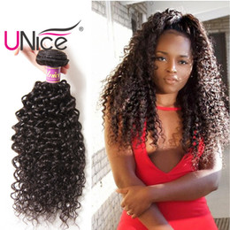 Rizado cabello humano de 34 pulgadas online-Unice Hair Wholesale Virgin 8A Paquetes de Pelo Brasileño Curly Wave Bundle sin procesar del pelo humano teje barato Curl agradable 8-26 pulgadas a granel