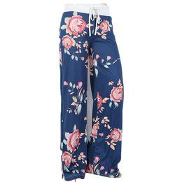 Wholesale Womens Plus Wide Leg Pants - yoga pants Ladies floral yoga palazzo trousers womens summer wide leg pants black gray plus size S-3XL