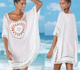 59b7446128 Women bikini beach cover ups swimwear summer knit Embroidery Sunflower  dresses sexy holiday loose large blouses sunscreen shirts beachwear