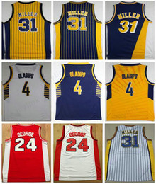 Wholesale Paul George Jersey - Throwback Uniforms Men's 31# Reggie Miller Jersey Stitched Reggie Miller shirts 4# Victor Oladipo High Quality Paul George College Jersey