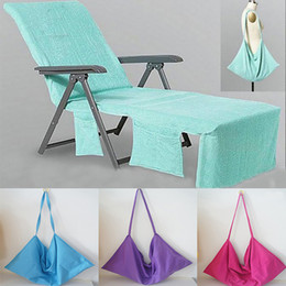 Wholesale Portable Beach - Beach Chair Cover Beach Towel Microfiber Pool Lounge Chair Cover Blankets Portable With Strap Beach Towels Double Layer Blanket WX9-351