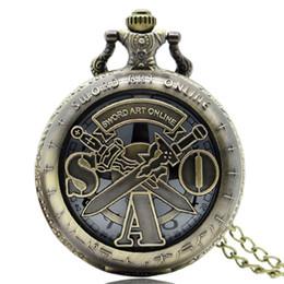 Wholesale Online Tags - Vintage SAO Sword Art Online Pocket Watch Import Precise Japanese Quartz Movement Bronze Necklace Pendant Chain Fob Hour Clock Jewelry Gifts