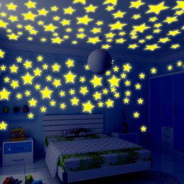 Wholesale Tattoos For Wall - 100 Pieces Wall Stickers Illuminate Bedroom Decor Bright Stars of Fluorescent Color Tattoos Wall Stickers