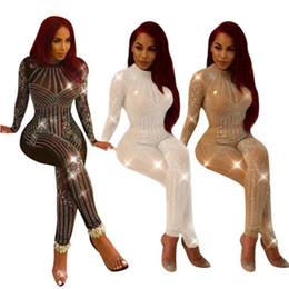 Traje de malla de longitud completa online-Sparkly Style Rompers Mujeres Mono Mesh Rhinestone Body de cuerpo entero Elegante mono Mono corto Plus Size S-XXL