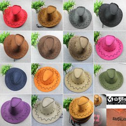 Wholesale Women Church Dresses - Men's Cowboy Hats Adults Kids multi-colors casual hat Suede Wild West Fancy Dress Men Ladies Cowgirl Unisex wide brim Hats