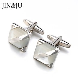 Wholesale real pearls for sale - JIN&JU Hot Sale Real Tie Clip Mother Of Pearl Cuff Links Square Shell For Men Wedding Dress Groom Cuff Link
