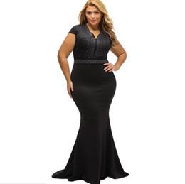 Le donne di modo vestono il grasso online-affascinante codice di ingrandimento Abbigliamento donna sexy scollo a V manica corta moda trapano caldo riparare il corpo donna grassa abito abiti 61376