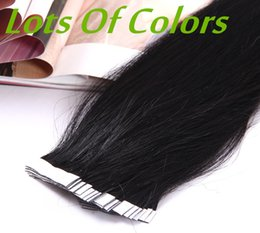 Wholesale Tape Hair Extensions Blonde Mix - A Grade 12-30'' Silky Straight 100g pack Black Brown Blonde Mixed Ombre Color 100% Indian Human Hair Extensions Skin Weft PU Tape