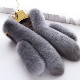 Wholesale hot pink faux fur coat - Hot Fashion Fox Fur Women Vests 2018 Winter High Quality Fur Sleeveless Women Faux Fur Slim Lady Waistcoat Outwear Women Coats Clothing