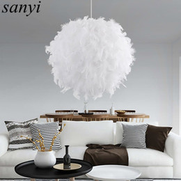 Wholesale pink store clothes - Modern Romantic Luxury White Pink Color Feather Pendant Light Lamp Marriage Room Clothing Store Bedroom Dining Room Pendant Lamp