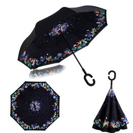 Wholesale Car Print Fabric - Ceiourich 3D Printing Flower Car Reverse Umbrellas Rain Women Men Uv Protection Windproof Sunny Rainy Customized Umbrella-001