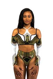 2019 egito sexy New Sexy Mulheres Biquínis Swimwear Egito Tribal Imprimir Maiô Conjunto de Biquíni Brasileiro de Manga Longa de Cintura Alta desgaste da Praia egito sexy barato