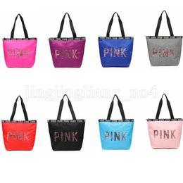 Wholesale Print Bags Wholesale - Sequins PINK Letter Handbags 8 Colors Portable Love Pink Shoulder Bag Waterproof Shopping Bag Secret Travel Duffle Kids Handbag OOA5199