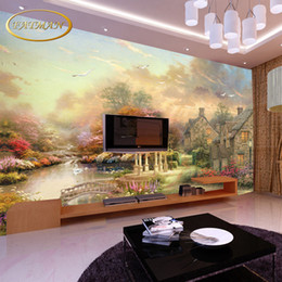 Wholesale Paper Towns - Custom 3d wallpaper European style town scenery village tree high quality living room bedroom wallpaper papel de parede