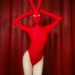 Ropa de mujer sexy de lujo online-Sexy Dance Bunny Girl Red Body Costume Night Club Cosplay Ropa Fancy High Ears Rabbit Playing Uniform para mujer