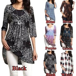 Wholesale Black Floral Tunic - 2018 New Arrival Womens Fashion Empire Waist Paisley Floral 3 4 Sleeve Flared Tunic Dress Tops Plus Size S-5XL