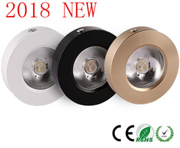 Wholesale White Gold Lamp - Ultrathin surface mounted Led cob downlight spot light lamp bulbs 3w 5w 7w 10w 15w 220V ceiling recessed Lights Indoor Lighting