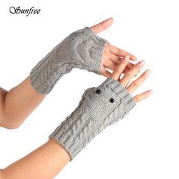 Wholesale Orange Knit Gloves - Sunfree 2016 New Hot Sale Winter Wrist Arm Hand Warmer Knitted Long Fingerless Gloves Mitten Brand New High-Quality Nov 24