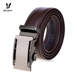 Wholesale level automatic - VBIGER Men Genuine Leather Top-Level Cowhide Belt Male Business Casual Strap Waist Band with Automatic Buckle brown
