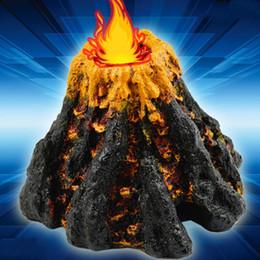 Serbatoio di ossigeno di pesce online-Simulazione Piccola forma di vulcano Acquario Serbatoio di pesce Decorazione Ornamento Bubble Stone Aria Pompa di ossigeno Accessori Pet Toys 5lh bb