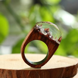 Wholesale Wooden Forest Animals - whole saleHandmade Jewelry with Wood Resin Ring Tiny Fantasy Secret Forest Wooden Ring for Men Women Gift 373103