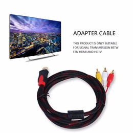 Wholesale Hdmi Cord Converter - Power Cords & Extension Cords High Quality To 3 RCA 1.5m Cable Male Adapter Converter Cable For HDTV
