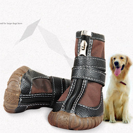 Wholesale Golden Retriever Dogs Pets - Large Big Dog PU leather sport Shoes Winter Waterproof Pet dog Puppy Martin boots non-slip pitbull golden retriever rain shoes Free Shipping